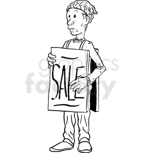 man wearing sandwich board clipart. Commercial use image # 410527