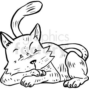 cozy cat cartoon clipart. Commercial use image # 410532