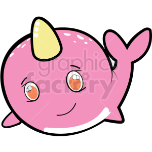 little pink narwhale cartoon clipart. Commercial use image # 410571