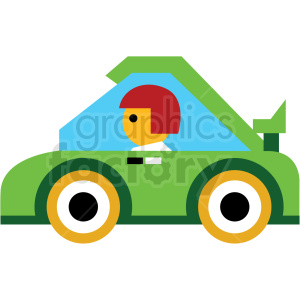 cartoon green race car vector icon clipart. Commercial use image # 410676