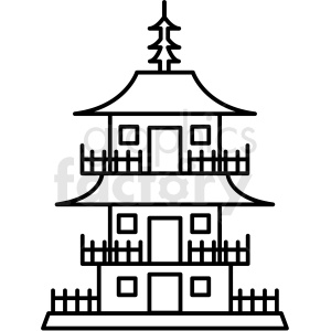 japanese pagoda building vector icon clipart. Commercial use image # 410696
