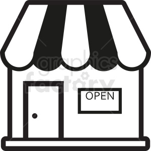 black and white storefront vector clipart clipart. Commercial use image # 410719