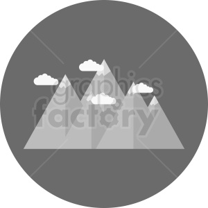 gray mountain with clouds vector icon on gray circle background clipart. Commercial use image # 410969
