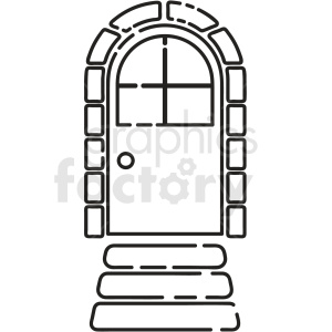 black and white cartoon door vector clipart