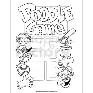 doodle game printable page clipart. Commercial use image # 411255