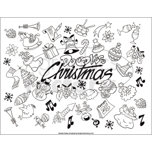 Christmas doodle printable page clipart. Commercial use image # 411256