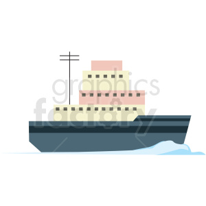 ice breaker ship flat vector icon clipart. Commercial use image # 411279