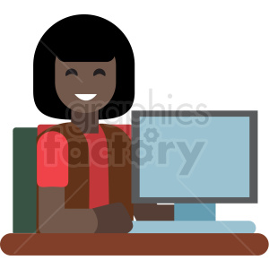 black female clerk flat icon vector icon clipart. Commercial use image # 411341