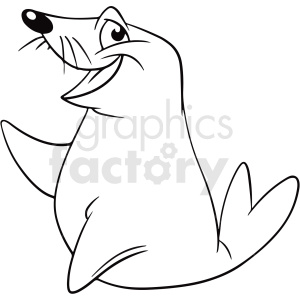 black white cartoon seal vector clipart