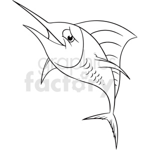 black white cartoon swordfish clipart clipart. Commercial use image # 411436