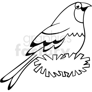 cartoon bird black white vector clipart clipart. Royalty-free image # 411659