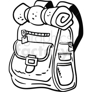 black and white cartoon backpack vector clipart clipart. Royalty-free image # 411756