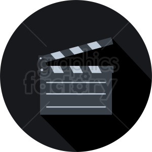clapperboard dark circle icon clipart. Commercial use image # 411926