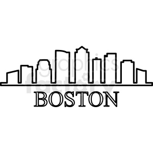 Boston city outline vector clipart clipart. Commercial use image # 412199