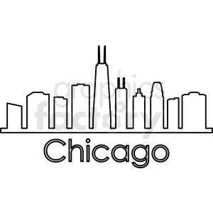Chicago city skyline vector outline clipart. Royalty-free image # 412226