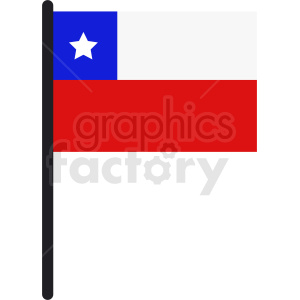 Chile flag on pole icon clipart. Commercial use image # 412323