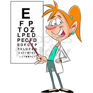 cartoon woman eye osteopathic doctor clipart. Commercial use image # 412412
