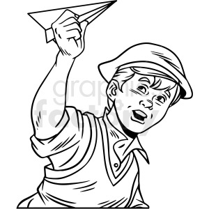 black and white retro kid playing vector clipart