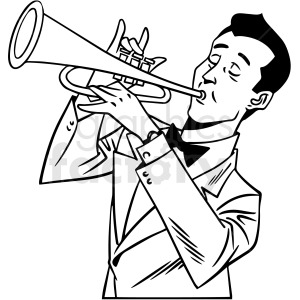 black and white retro man playing the sax vector clipart clipart. Commercial use image # 412472