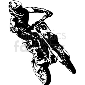 black and white motocross rider vector illustration clipart. Royalty-free image # 412602