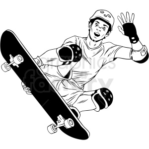 black and white skateboarder doing tricks vector illustration clipart. Commercial use image # 412610