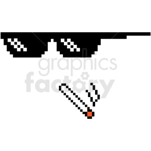 thug life 8 bit sunglasses left smoking weed svg cut file clipart. Commercial use image # 412615