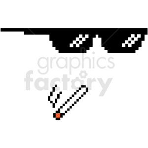 thug life 8 bit sunglasses right smoking weed svg cut file clipart. Royalty-free image # 412617