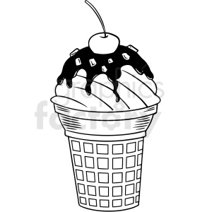 black white ice cream cone vector clipart clipart. Commercial use image # 412639