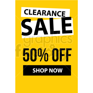 yellow 50 percent off clearance sale shop now banner icon vector clipart clipart. Royalty-free image # 412679