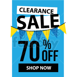 blue 70 percent off clearance sale shop now icon vector clipart clipart. Royalty-free image # 412683