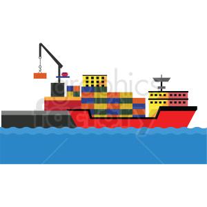 shipping port loading containers vector clipart clipart. Commercial use image # 412691