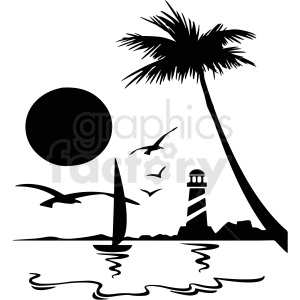 black and white island with lighthouse silhouette vector clipart