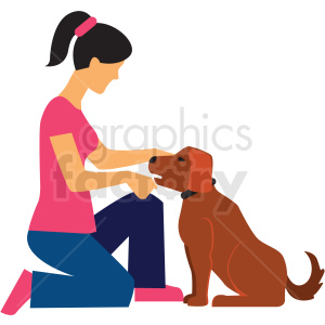woman training dog vector clipart