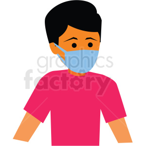sick person wearing mask vector clipart clipart. Commercial use image # 412735