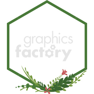 hexagon shaped floral frame vector clipart clipart. Royalty-free image # 412780