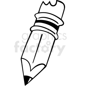 black and white cartoon pencil vector clipart. Commercial use image # 412856