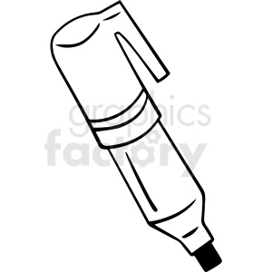 black and white cartoon marker vector clipart. Commercial use image # 412875