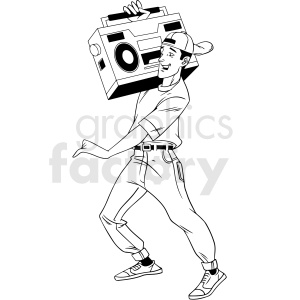 90s guy with large radio vector clipart clipart. Royalty-free image # 412900