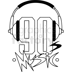 black and white 90s music text vector clipart. Commercial use image # 412908