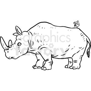black and white rhinoceros vector clipart clipart. Commercial use image # 412919