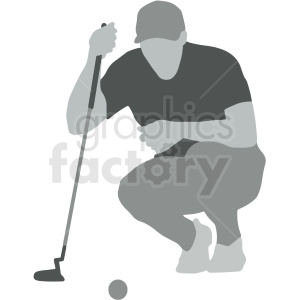 man on golf course vector illustration