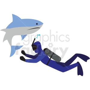 scuba diver with shark vector clipart icon clipart. Commercial use image # 412957