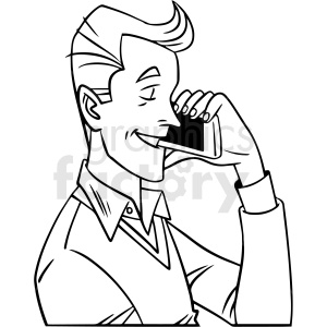 black and white man talking on phone vector clipart clipart. Royalty-free image # 413064