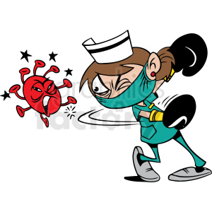 nurse fighting virus vector clipart clipart. Commercial use image # 413104