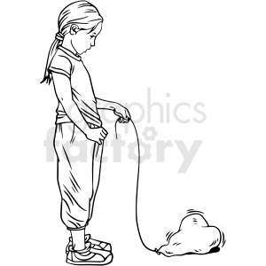 black and white girl holding deflated heart balloon vector clipart clipart. Commercial use image # 413125
