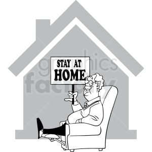 black and white stay at home quarantined cartoon vector clipart clipart. Commercial use image # 413171