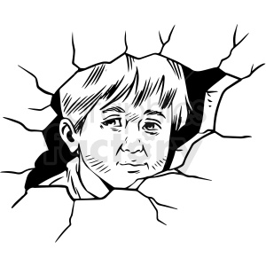 black and white realistic child refugee vector clipart clipart. Royalty-free image # 413176