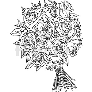 black and white rose bouquet vector clipart clipart. Royalty-free image # 413200