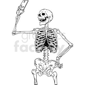 black and white skeleton taking selfie vector clipart