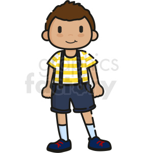 cartoon boy wearing overalls vector clipart clipart. Commercial use image # 413288